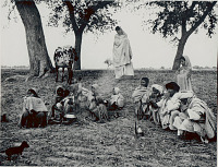 view Group of Agricultural Laborers in Costume Eating Lunch And Smoking Water Pipe in Field; Cow and Puppy Nearby 1956 digital asset number 1