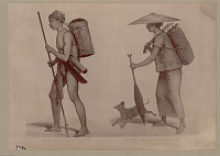 view Drawing by Carl Bockdel Showing Orang-Bukkitman from Amontai And Long-Wai Woman; Both in Costume with Burden Baskets, Spear, Knives, and Dog n.d digital asset number 1