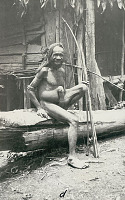 view New Guinea Man Wearing Ornaments Including Shell-Coconut Gourd Penis Sheath Holding Bow and Arrows; Outside Wood Frame House with Thatch Roof 1891 digital asset number 1