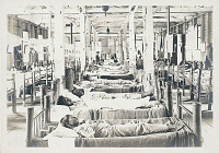 view View Inside Plank Hospital Building and Showing Patients In Bamboo-Frame Beds 1936 digital asset number 1