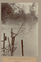 view Fisherman in Costume with Net on Bamboo Frame Pier 1901 digital asset number 1