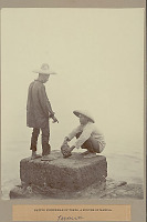 view Two Fishermen in Costume with Straw Hats, One with Wood Container, and Near Water 1901 digital asset number 1