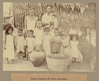 view Family Group with Wood Tub and Ceramic Pot Outside Pole And Thatch House 1901 digital asset number 1