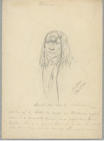 view Portrait of Koilt-Koi-Imp-Ty, Called Pelchimo, with Hair Braids and Wearing Crucifix 12 MAY 1854 Drawing digital asset number 1