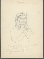 view Portrait of Chief Shil-Che-Lum-C-La (Five Crows), Called Ambrose, Wearing Military Shoulder Strap and Beret-Style Cap 14 MAY 1854 Drawing digital asset number 1