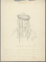 view Portrait of Adolphe Wearing Hair Braids and Cap with Feathers 14 MAY 1854 Drawing digital asset number 1
