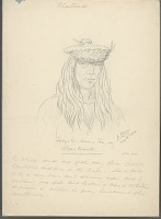 view Portrait of Chief Sory-Te-Sum-Hi (Bear Track) Wearing Hair Braids and Cap with Feather Decoration 14 MAY 1854 Drawing digital asset number 1