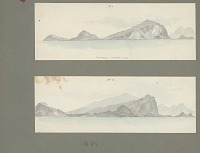 view Two Views of Oahu Island from Shipboard Painting digital asset: Two Views of Oahu Island from Shipboard Painting