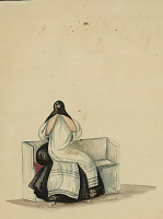 view South American Woman in Costume Hiding Her Face with Scarf or Shawl, Sitting On Bench n.d. Painting digital asset number 1