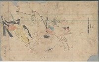 view Anonymous Arapaho drawing of Indian on horseback with shield counting coup on second Indian on horseback digital asset: Anonymous Arapaho drawing of Indian on horseback with shield counting coup on second Indian on horseback