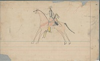 view Anonymous Arapaho drawing of man on horseback digital asset: Anonymous Arapaho drawing of man on horseback