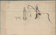 view Anonymous Arapaho drawing of courting scene, with man on horseback talking to woman and dog nearby digital asset: Anonymous Arapaho drawing of courting scene, with man on horseback talking to woman and dog nearby