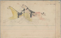 view Anonymous Arapaho drawing of mounted Indian counting coup on another Indian and a second mounted Indian catching a horse digital asset: Anonymous Arapaho drawing of mounted Indian counting coup on another Indian and a second mounted Indian catching a horse