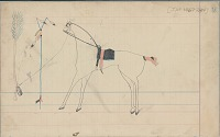view Anonymous Arapaho drawing of forked staff planted upright and horse tied to tree digital asset: Anonymous Arapaho drawing of forked staff planted upright and horse tied to tree