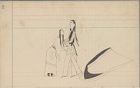 view Anonymous Arapaho drawing of courting scene, with man and woman with blanket nearby digital asset: Anonymous Arapaho drawing of courting scene, with man and woman with blanket nearby