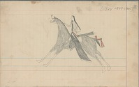 view Anonymous Arapaho drawing of Indian man on gray horse digital asset: Anonymous Arapaho drawing of Indian man on gray horse