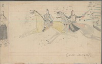 view Anonymous Arapaho drawing of man and two women fleeing from fire of unseen enemies digital asset: Anonymous Arapaho drawing of man and two women fleeing from fire of unseen enemies