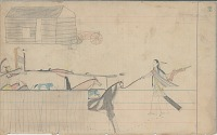 view Anonymous Arapaho drawing of horse raid, with man leading horses out of corral next to frame building digital asset: Anonymous Arapaho drawing of horse raid, with man leading horses out of corral next to frame building