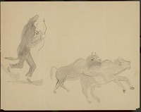 view Lean Wolf drawing of hunter on show shoes and wearing wolf skin over head pursuing buffalo bull and cow, circa 1880-1881 digital asset number 1