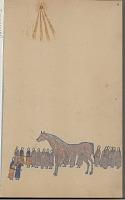 view Anonymous Kiowa drawing of story of Red Horse, the cyclone digital asset: Anonymous Kiowa drawing of story of Red Horse, the cyclone