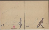 view Anonymous Kiowa drawing of story of Saynday running a foot race with a coyote digital asset: Anonymous Kiowa drawing of story of Saynday running a foot race with a coyote