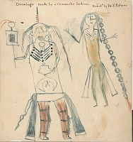 view Anonymous Comanche drawing of two Comanche men wearing breastplates digital asset: Anonymous Comanche drawing of two Comanche men wearing breastplates