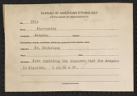 view MS 2816 Truman Michelson note with citation for article identifying Arapaho as an Algonquian language digital asset: Truman Michelson note with citation for article identifying Arapaho as an Algonquian language