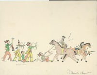 view Tichkematse drawing of battle scene between Cheyenne and Osage, 1879 digital asset number 1