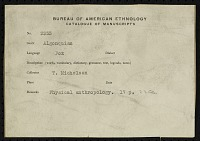 view MS 3353 Texts and anthropometric measurements of Arapaho and others collected by Truman Michelson digital asset: Texts and anthropometric measurements of Arapaho and others collected by Truman Michelson