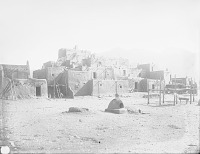 view View of North Pueblo From Southwest Showing Beehive Oven, Earth Oven and Water Trough 1899 digital asset number 1