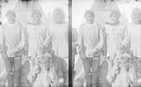 view Stereoscope of Group, Including Two Men With Labrets, Beside Conical-Shaped Tent 1879 digital asset number 1