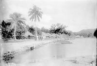 view [Five people standing on shore, houses in background, Teavanui village, BoraBora Island] 1899-1900 digital asset number 1