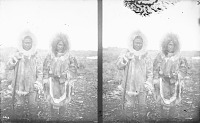 view Stereoscope of Woman and Man with Rifle, Both from Seward Peninsula Village 1877 digital asset number 1