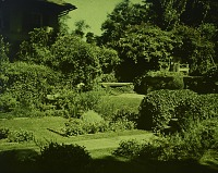 view [Unidentified Garden in Unidentified Location]: flower beds and stone path adjacent to house. digital asset: [Unidentified Garden in Unidentified Location] [lantern slide]: flower beds and stone path adjacent to house.