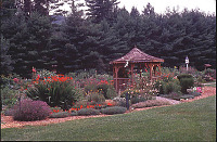 view [Crowfields Community Gardens]: view from north northwest with gazebo and birdhouse in background. digital asset: [Crowfields Community Gardens]: view from north northwest with gazebo and birdhouse in background.: 2000 Jul.