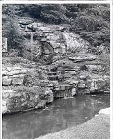 view [Cobble Court]: rock garden with waterfalls. digital asset: [Cobble Court] [photoprint]: rock garden with waterfalls.