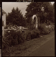 view [Unidentified Garden in Mendham, New Jersey [on Corey Lane]]: daylily border and entrance arbor. digital asset: [Unidentified Garden in Mendham, New Jersey [on Corey Lane]] [safety film negative]: daylily border and entrance arbor.
