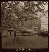 view [Unidentified Garden in Armonk, New York, No. 1]: looking into patio area from outside of rail fence. digital asset: [Unidentified Garden in Armonk, New York, No. 1] [photonegative]: looking into patio area from outside of rail fence.