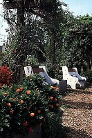 view [Aspen Farms Community Garden]: garden commons with sitting area, shaded by pergola. digital asset: [Aspen Farms Community Garden]: garden commons with sitting area, shaded by pergola.: 1996 Aug.