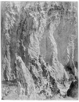 view [Yellowstone National Park]: rock formations, probably in the canyon of the Yellowstone River. digital asset: [Yellowstone National Park] [glass negative]: rock formations, probably in the canyon of the Yellowstone River.