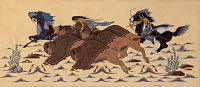 view Buffalo Hunt (color study for mural, East Wall, Recreation Room, Department of the Interior, Washington, D.C.) digital asset number 1