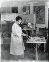 view Artist at work in her studio [photograph] / (photographed by Peter A. Juley & Son) digital asset number 1