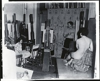 view Yasuo Kuniyoshi teaching at the Art Students League, New York [photograph] / (photographed by Peter A. Juley & Son) digital asset number 1