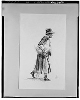 view Old Woman Walking, Montgomery [drawing] / (photographed by Walter Rosenblum) digital asset number 1