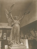 view Soldiers' and Sailors' Monument (detail, Winged Victory; shown in studio) [sculpture] / (photographed by A. B. Bogart) digital asset number 1