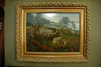 "view Holder, Edward Henry, 1847-1922, artist. Oil painting, ""Kudus at Victoria Falls"" digital asset: Holder, Edward Henry, 1847-1922, artist. Oil painting, ""Kudus at Victoria Falls"""