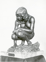 "view Bronze Statuette Of Crouching Woman - ""Crouching Woman"", by Herbert Ward digital asset number 1"