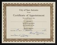 view Mel Casas papers digital asset: Certificate, Fine Arts Commission, City of San Antonio
