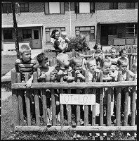 Kids in the tot lot, Park Forest, Illinois, 1954