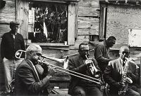 view Outdoor Recording Session, New Orleans / Seated Musicians L. to R.: Louis Nelson, Kid Sheik, Chester Jones, John Handy digital asset number 1